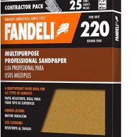 Fandeli 36027 hojas de papel de lija multiuso grano 220, 9 x 11 pulgadas, 25 hojas